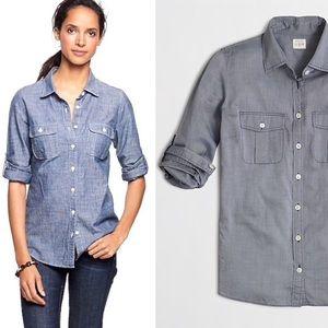 J.CREW End-on-end Camp Shirt-Cotton-Blue-XL